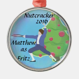 Personalisierte Nussknacker-Verzierung - Fritz Rundes Silberfarbenes Ornament