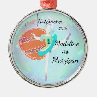 Personalisierte Nussknacker-Verzierung - Marzipan Rundes Silberfarbenes Ornament