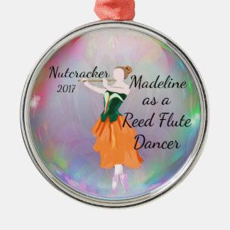 Personalisierte Nussknacker-Verzierung - Reedflöte Silbernes Ornament