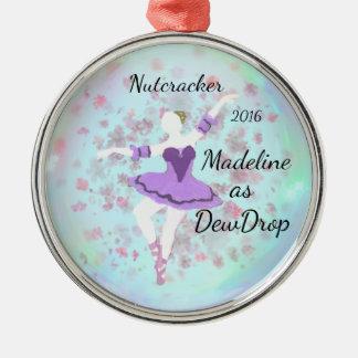 Personalisierte Nussknacker-Verzierung - Rundes Silberfarbenes Ornament