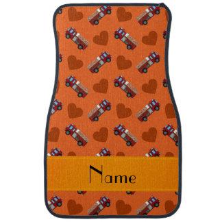 Personalisierte orange Feuer-LKW-Namensherzen Autofußmatte
