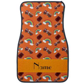 Personalisierte orange Feuer-LKW-Namensregenbogen Autofußmatte
