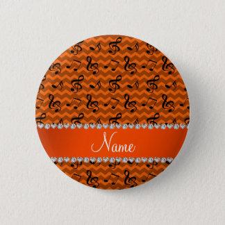 Personalisierte orange Musiknotennamenssparren Runder Button 5,1 Cm