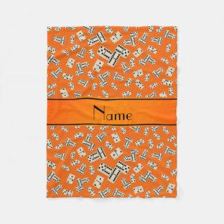 Personalisierte orange Namensdominos Fleecedecke