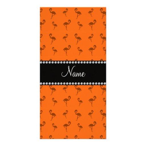 Personalisierte orange Namensflamingos Bilderkarte