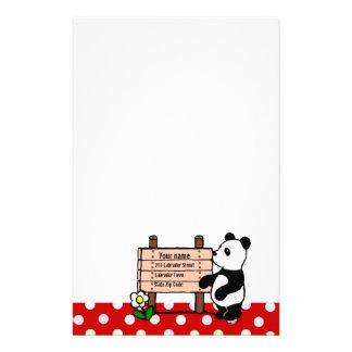 Personalisierte Panda-Cartoon-und Polka-Punkte Büropapiere