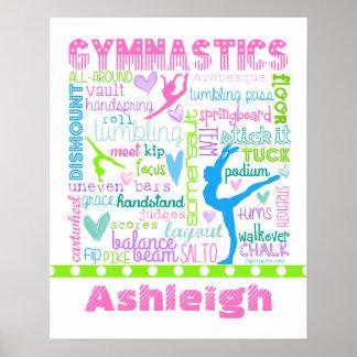 Personalisierte Pastellgymnastik fasst Typografie Poster