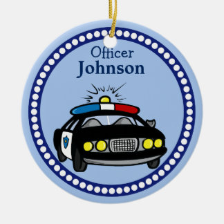 Personalisierte Polizei-Auto-Weihnachtsverzierung Rundes Keramik Ornament