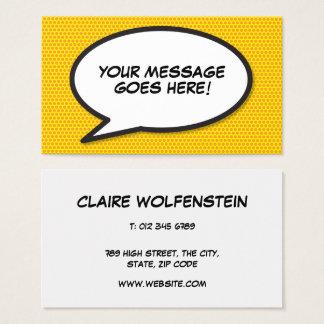 Personalisierte Pop-Kunst-Comic-Buch-Sprache-Blase Visitenkarte