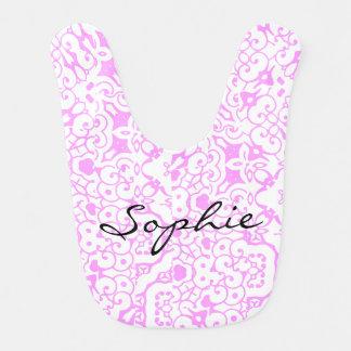 Personalisierte rosa Damast-Muster-Mädchen Lätzchen