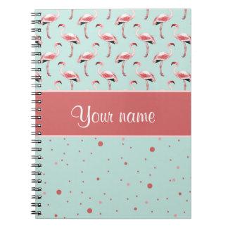 Personalisierte rosa Flamingo-Polka-Punkte Notizblock