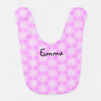 Personalisierte rosa geometrische Muster-Mädchen Lätzchen