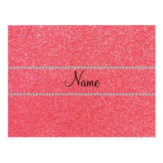Personalisierte rosa Glitternamensdiamanten Postkarten