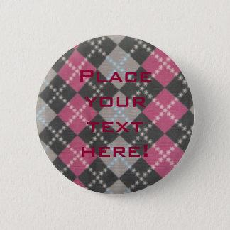 Personalisierte rosa graue karierte Tartan Runder Button 5,1 Cm