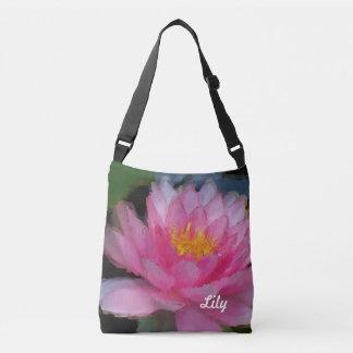 Personalisierte rosa Lotos-Blumen-Wasser-Lilie Tragetaschen Mit Langen Trägern
