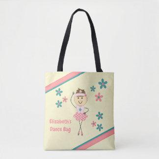 Personalisierte rosa mit Blumennamensballerina Tasche
