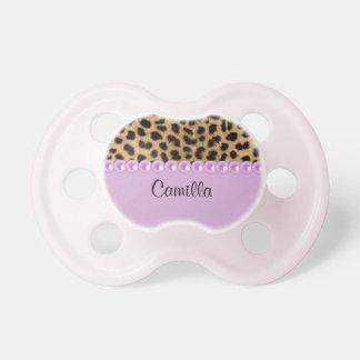Personalisierte rosa Perlen und Leopard-Schnuller Schnuller