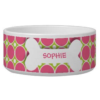 Personalisierte rosa Punktehundeknochen-Nahrung fü Napf