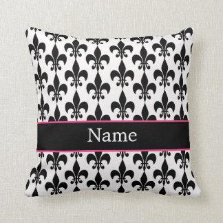 Personalisierte rosa schwarze Liliethrow-Kissen Kissen