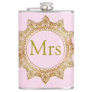 Personalisierte Rosa-und Goldfrau Flask Flachmann