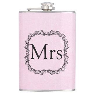 Personalisierte rosa und schwarze Frau Flask Flachmann