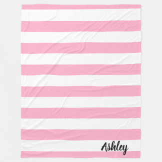 Personalisierte rosa und weiße gestreifte fleecedecke