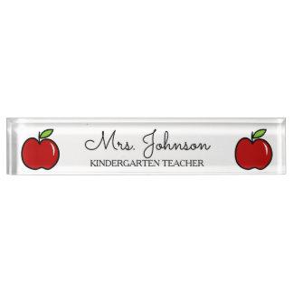 Personalisierte rote Apfelikone der Schreibtischplakette