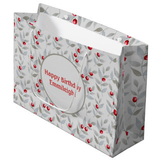 Personalisierte rote Beeren auf Grau Große Geschenktüte