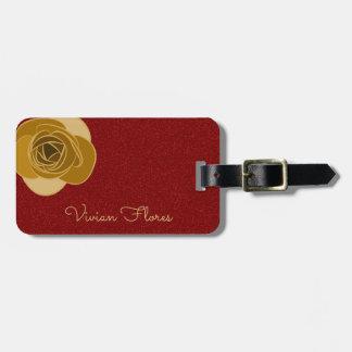 Personalisierte rote GoldRosen-mit BlumenBlume des Kofferanhänger