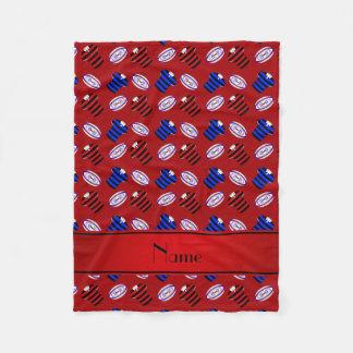 Personalisierte rote Jerseysrugbynamensbälle Fleecedecke