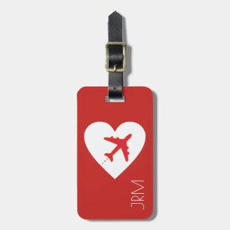 personalisierte rote Liebeflugzeugreise Gepäckanhänger