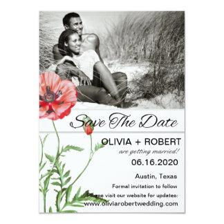 Personalisierte rote Mohnblumen-Einfachheit Save 11,4 X 15,9 Cm Einladungskarte