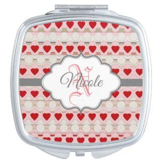Personalisierte rote rosa Herzen des Valentines Taschenspiegel