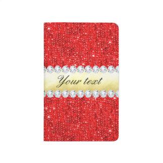 Personalisierte rote Sequins, Goldfolie, Diamanten Taschennotizbuch