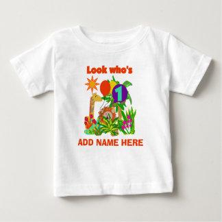 Personalisierte Safari-1. Geburtstags-T-Shirt Baby T-shirt
