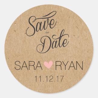 Personalisierte Save the Date Aufkleber-Hochzeit Runder Aufkleber