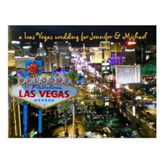 Personalisierte Save the Date Vegas-Hochzeit Postkarten