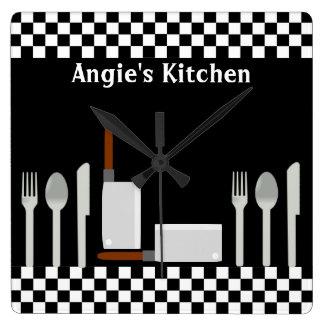 Personalisierte Schachbrett-Küchen-Gerät-Uhr Quadratische Wanduhr