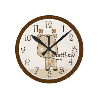 Personalisierte schläfrige Safari-Giraffen-Uhr Runde Wanduhr
