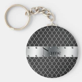 Personalisierte schwarze Drachenamensskalen Standard Runder Schlüsselanhänger
