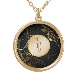 personalisierte schwarze Goldmarmorhalskette Vergoldete Kette
