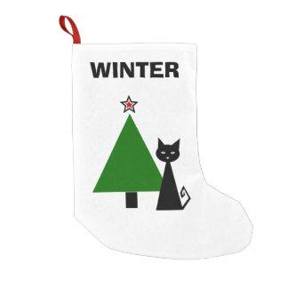 Personalisierte schwarze Katze Kleiner Weihnachtsstrumpf