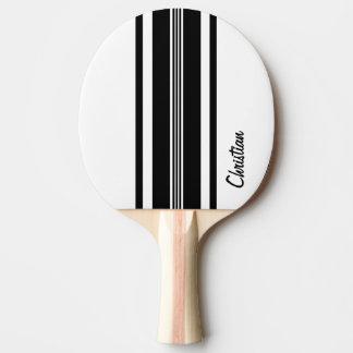 Personalisierte schwarze moderne laufende Streifen Tischtennis Schläger