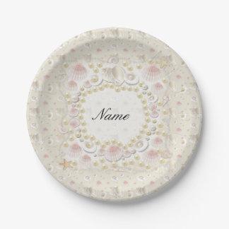 Personalisierte Seashells und Perlen Pappteller
