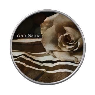 Personalisierte Sepia-Rosen-transparentes Jelly Belly Dosen