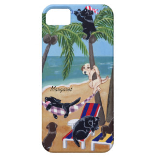 Personalisierte Sommer-Ferien Labradors Malerei Barely There iPhone 5 Hülle