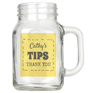 Personalisierte Spitze-gelbes Namensglas Einmachglas