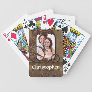 Personalisierte steampunk Fotoschablone Bicycle Spielkarten