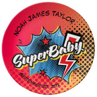 Personalisierte SuperBABYandenkenplatte, Superhero Porzellanteller
