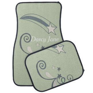 Personalisierte tadellose weiße Schießen-Sterne Autofußmatte